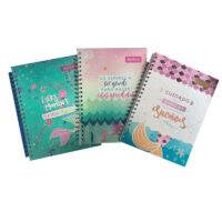 Cuaderno 3 Materias 105 Argollado Pasta Dura Cuadriculado Sirenas