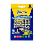 Marcadores Doblepunta Gigantes Lavables Norma x 8