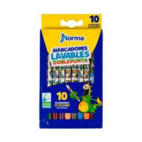 Marcadores Doblepunta Lavables Norma x 10