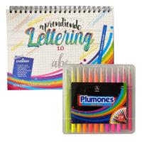 Kit Aprendiendo Lettering (Guía+ Plumones Punta Pincel x 24)