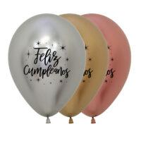 Globos Feliz Cumpleaños Reflex Deluxe Surtido