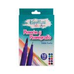 Plumón Punta Pincel y Plumígrafo Doble Punta x 10